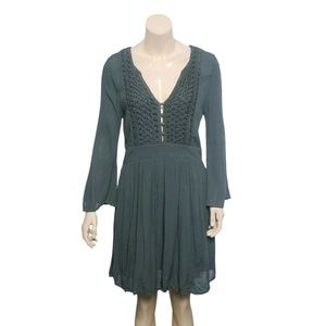 10074 Free People Embroidered Button Tunic Dress S